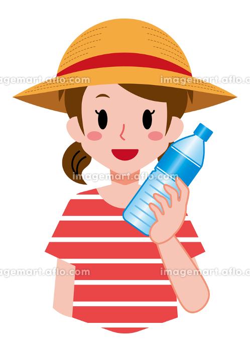 熱中症予防、飲み物を持った、女の子の販売画像