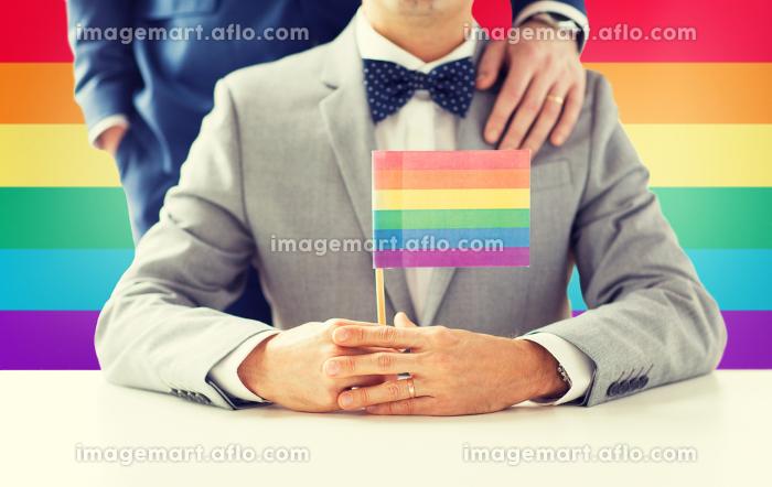 close up of male gay couple holding rainbow flagの販売画像