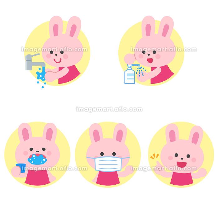ウサギ 手洗い・消毒・うがい・マスク 病気予防 アイコンセットの販売画像