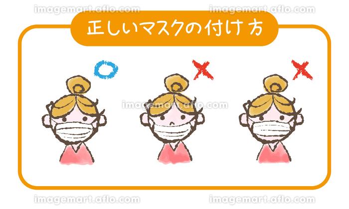 感染症対策 正しいマスクのつけ方イラストの販売画像