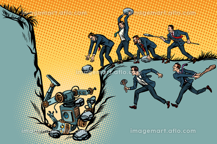 Savages businessmen kill the robot. Fight for jobs. People again