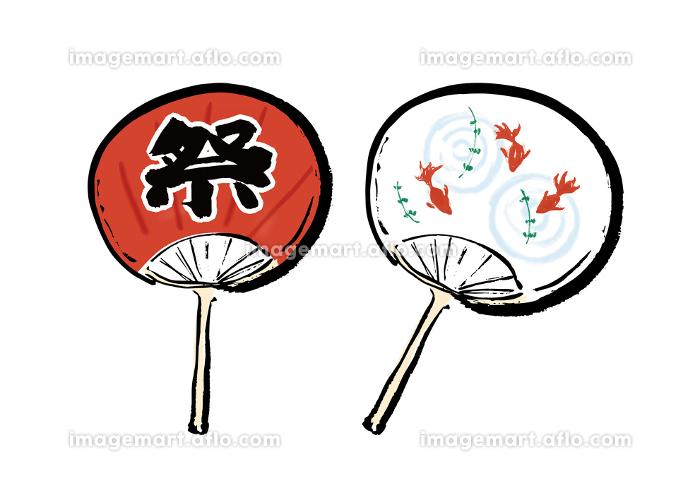 手描きイラスト素材 うちわ ウチワ 団扇 夏 祭の販売画像