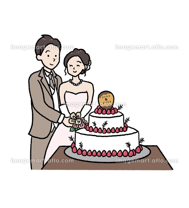 ケーキ入刀のイラストの販売画像