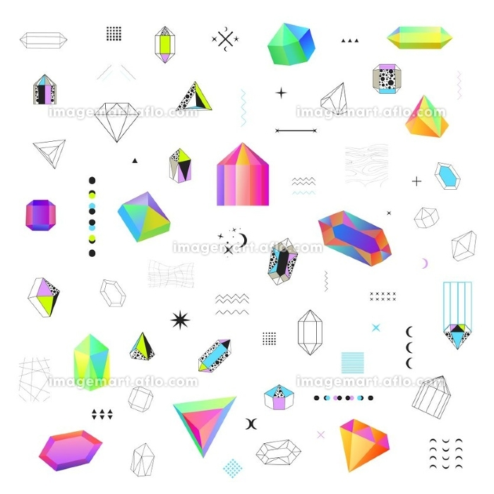 Polygonal Crystals Icons Big Set . Geometric diamond prism shaped polygonal crystals bright  colorful and black contour outline icons big set isolated vector illustration