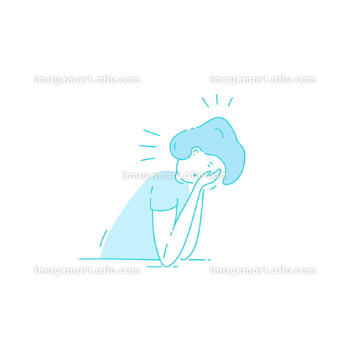 Sick stressed dizzy person Vector hand drawn illustrationの販売画像