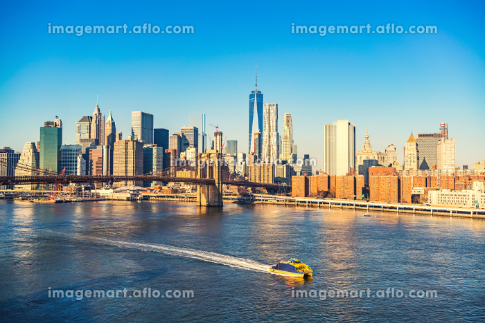 Brooklyn bridge and Manhattan at sunny dayの販売画像