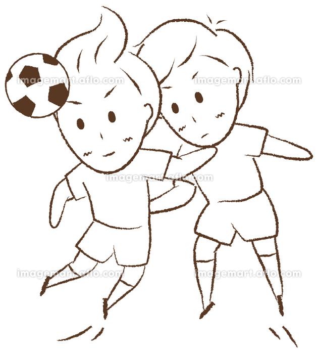 サッカーをする少年 空中戦の販売画像