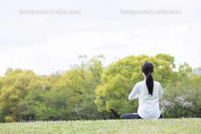 緑豊かな公園でヨガのポーズをとる若い女性の販売画像