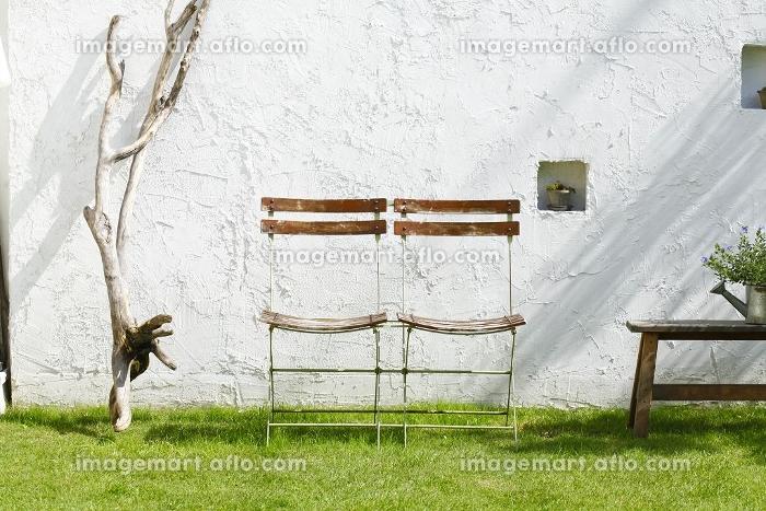 庭に置かれた椅子の販売画像