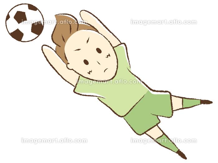サッカーをする少年 ゴールキーパーの販売画像