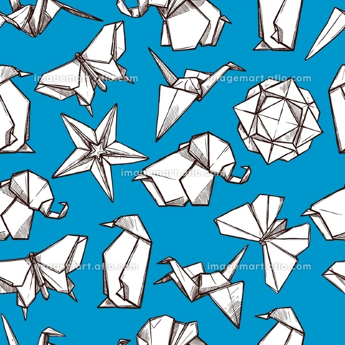 Origami paper folded figures seamless pattern . Origami white paper folded figures on blue background souvenirs presents wrap paper seamless pattern abstract vector illustration