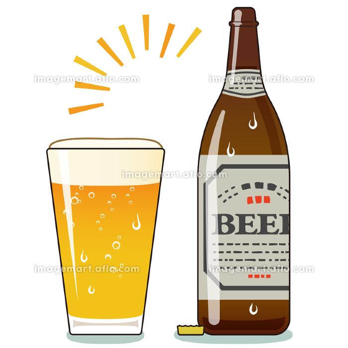 コップいっぱいに注がれた瓶ビールのイラスト