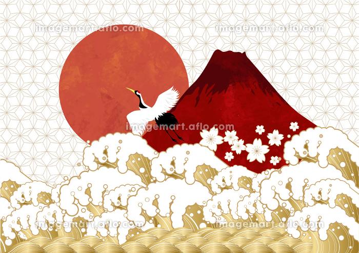 初日の出と赤富士と海:年賀状素材の販売画像