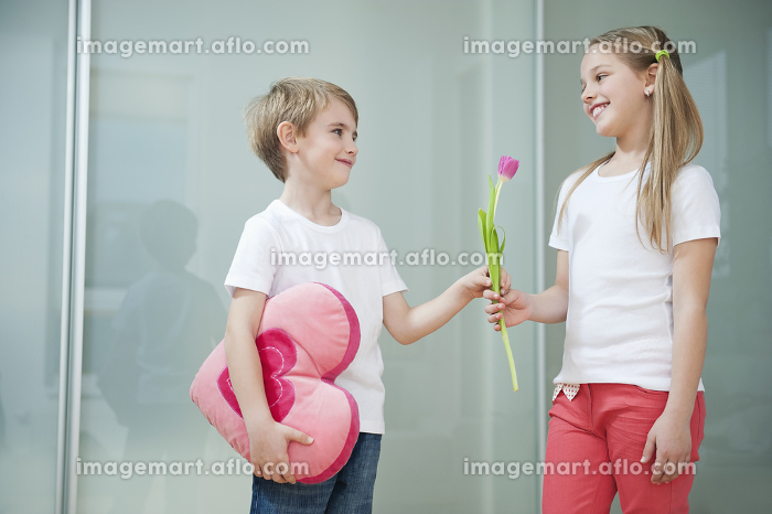 Little boy with heart shape cushion giving flower to girlの販売画像