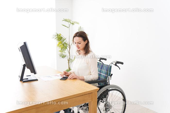 車椅子でデスクワークをする外国人の女性の販売画像