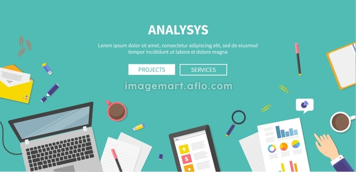 Necessary items for analysis, development of ideas, teamwork. Top view in flat design style. For web site construction, mobile applications, banners, corporate brochures, book covers, layouts etc.