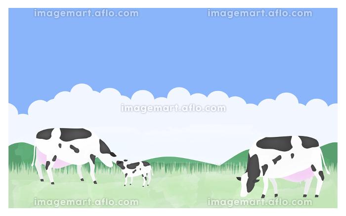 放牧される牛たちのイラスト 夏の牧場で