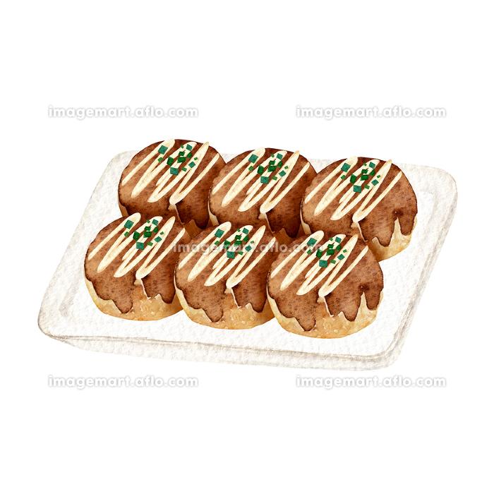 たこ焼き 縁日 祭 屋台 出店 食べ物 水彩 イラスト(135391312 ...