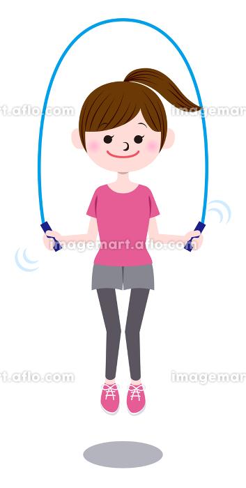 縄跳びする女性の販売画像