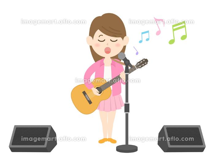 女性ミュージシャンのコンサートのイラストの販売画像