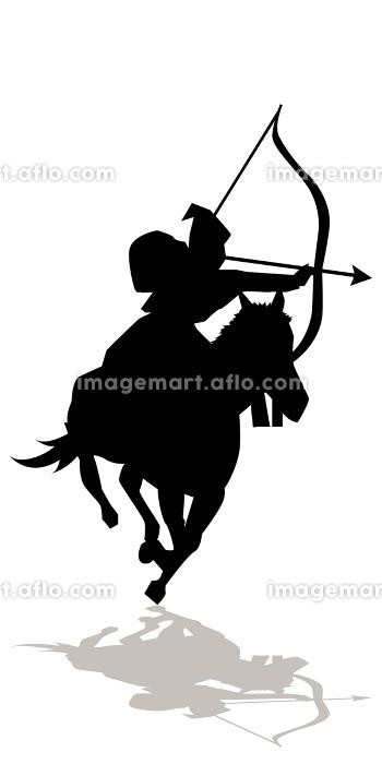 イラスト素材 武将 シルエット 影 甲冑 弓 馬 ベクターの販売画像