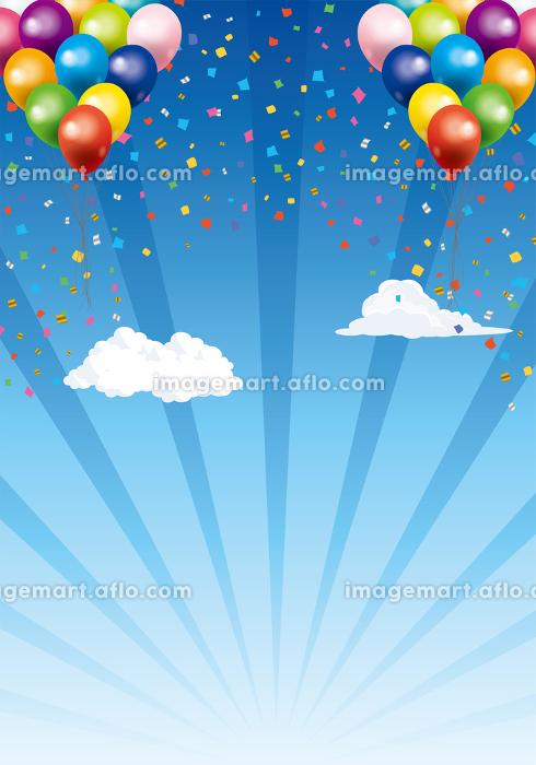 ハッピーで楽しそうなイメージの背景イラスト:青空を飛ぶ風船バルーン自然風景集中線バックの販売画像