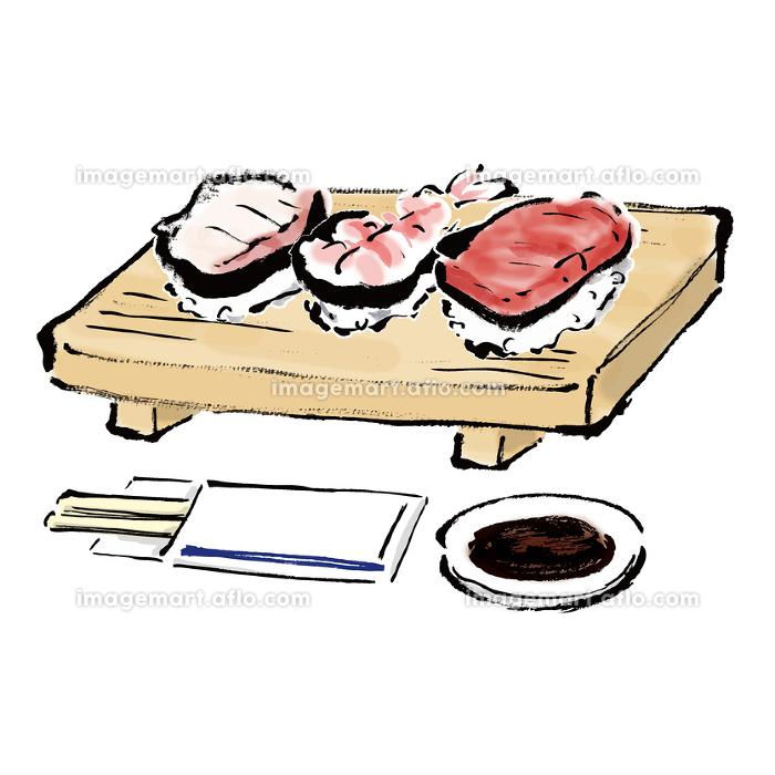 手描きの握り寿司3貫の和風の筆描きイラスト素材の販売画像