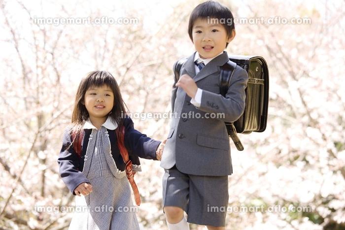 ランドセルを背負った小学生の兄妹の販売画像