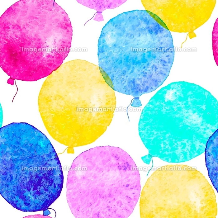 Seamless pattern with colorful watercolor balloons. Vector illustration.