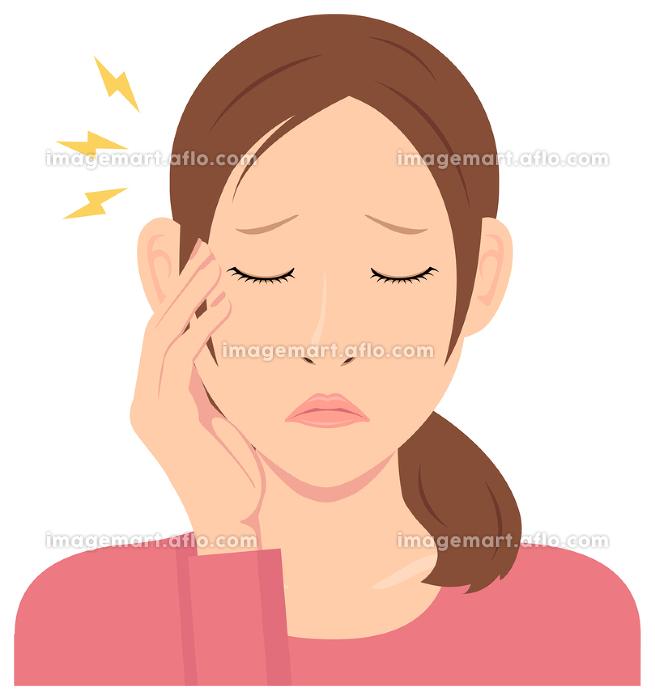 若い女性 上半身イラスト / 頭痛, 頭が痛い, 悩みの販売画像
