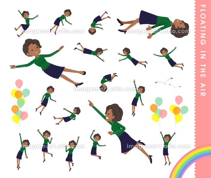 空中に浮かぶ黒人ビジネス女性のセットの販売画像