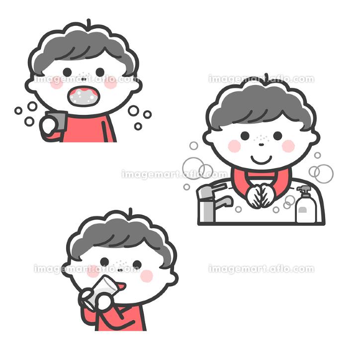 感染症予防/うがい、手洗い、水分補給をする男の子/2色の販売画像