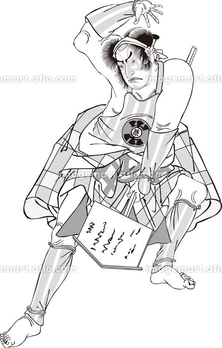 浮世絵 歌舞伎役者 その40 白黒の販売画像