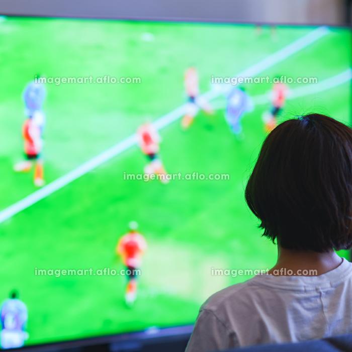 テレビを見る中年女性の販売画像