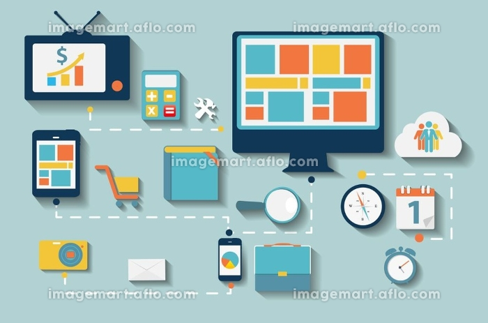 Modern Flat Icon Set for Web and Mobile Application With Computer and Connected Mobile Devices in Stylish Colors Vector illustration.