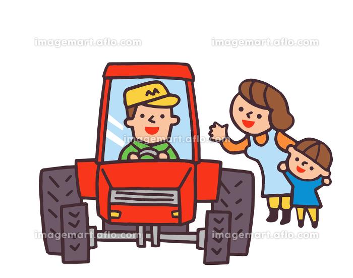 トラクターと笑顔の家族