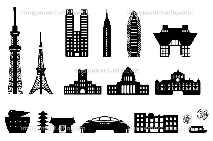 東京ランドマーク 建物・タワー・ビル シルエットイラストセットの販売画像