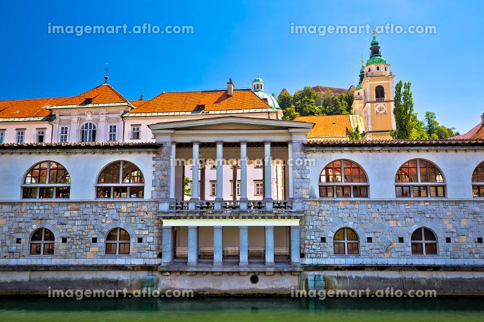 Green Ljubljanica riverfront in Ljubljana