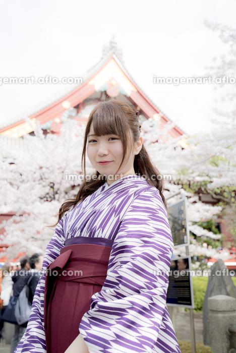 桜の前に立つ袴の女性