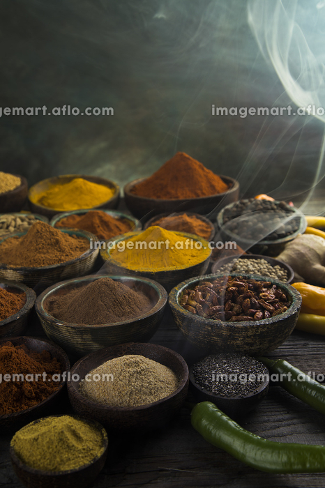 Aromatic spices, smoke and Still Life backgroundの販売画像