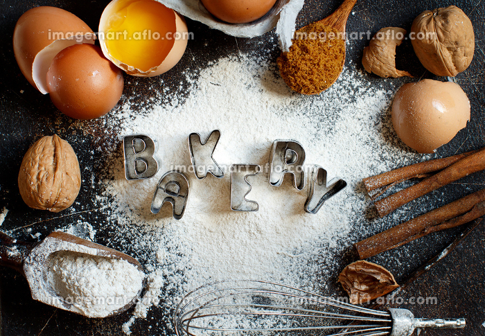 Ingredients and utensils for baking with word Bakeryの販売画像