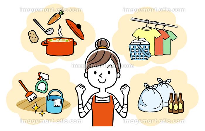 イラスト:家事を頑張る主婦、女性の販売画像