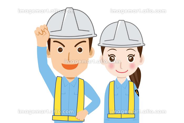 働く人交通誘導員ガードマン男女警備員のイラストバストアップ上半身ガッツポーズ制服笑顔安全反射ベストの販売画像