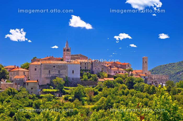 Idyllic istrian stone village of Plomin on green hill viewの販売画像