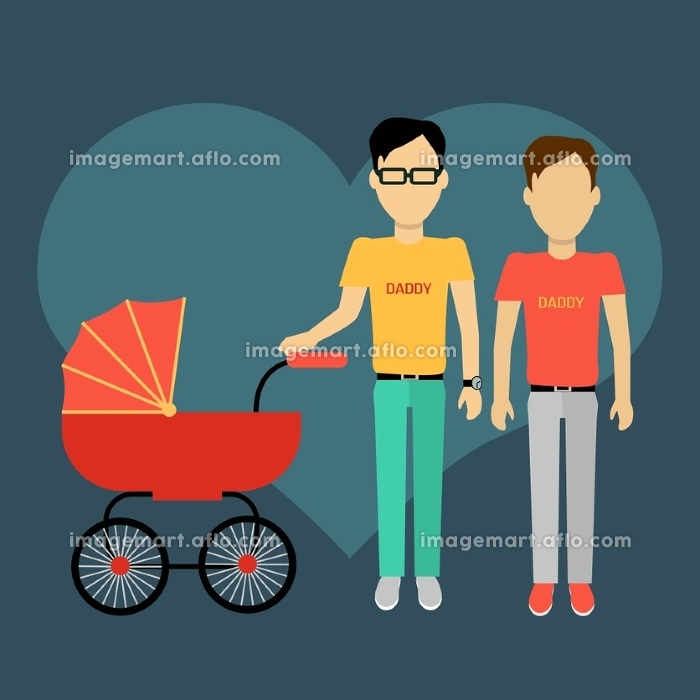 Father gay with a baby carriage banner design flat. Parents homosexual walking with baby in baby carriage. Daddy young happy with toddler, male and fatherhood, love and happiness, vector illustrationの販売画像