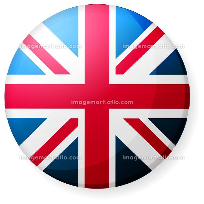 半球体・円形 国旗イラスト ( 光沢・缶バッジ ) / イギリス・英国・ユニオンジャックの販売画像