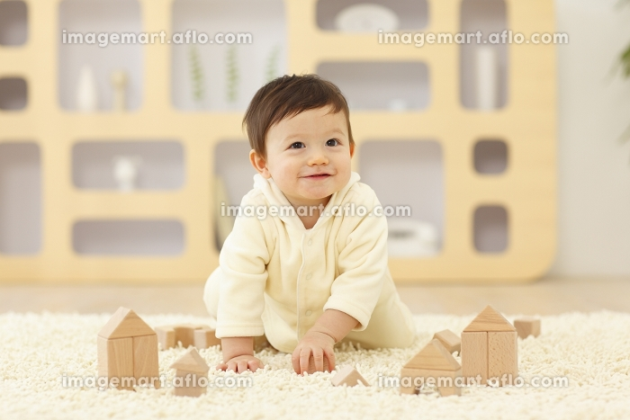 リビングで積木で遊ぶ赤ちゃんの販売画像