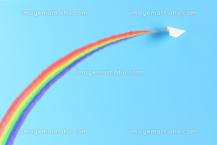 飛行機雲の虹をかける紙飛行機の販売画像
