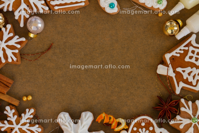 christmas gingerbread cookies. christmas frame with gingerbread cookies and spices