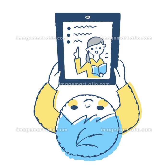 オンライン学習をする男の子の販売画像
